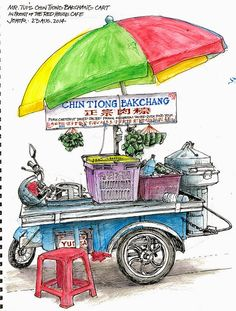 Bakchang is a local dumpling in sticky rice, with added items like salted pork, egg, mushrooms, prawn, fish, etc, and wrapped in a leaf. This motor cart sits in front of the Kafe Red House several times a week, before making its rounds to other Johor eating areas.
