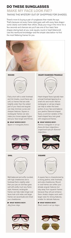Right sunglasses for face shape in case you darlings have problems choosing the right one.