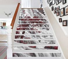Stair Risers Murals & Decals - U. Stair Risers, Stair Decor, Photo Mural, Aztec Art, Vinyl Wallpaper, Waterfall, Marble Stairs, 3d Tree, Small Houses