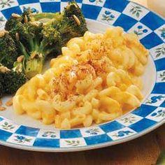 Crock pot mac and cheese. Use 2 c. velveeta and 2 c. shredded cheddar instead of 4 c. shredded cheddar.