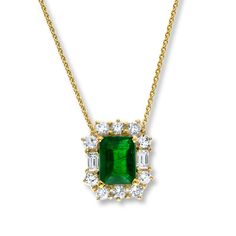 133839706 - Natural Emerald Necklace 5/8 ct tw Diamonds 14K Yellow Gold