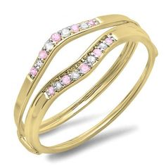 Share and get $20 off your order of $100 or more. 0.12 Carat (ctw) 18K Yellow Gold Round Pink Sapphire & White Diamond Ladies Anniversary Enhancer Guard Wedding Band - Dazzling Rock #https://www.pinterest.com/dazzlingrock/