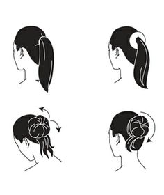 Step 3. Flip your head over and evenly fan out the ponytail over the bun to cover it. Secure with another bungee. Step 4. Wind the remaining hair around the base of the bun so it conceals the bungee; fix in place with bobby pins.