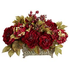 Provide a warm welcome to the holiday season with this beautiful Peony / Hydrangea arrangement. Bursting blooms of red are surrounded by gold-hued leaves, which