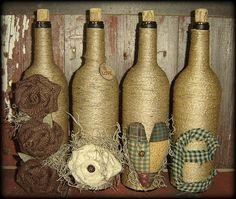 Primitive Homespun Burlap Wine Bottles