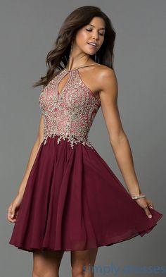 c5a721508a6 Shop chiffon short homecoming dresses at Simply Dresses. High-neck semi-formal  dresses