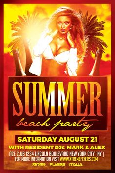 Beach Party PSD Flyer Template - http://xtremeflyers.com/beach-party-psd-flyer-template/ Beach Party PSD Flyer Template was designed to advertise a beach party for the start of the summer season.  #Beach, #Flyer, #Party, #Poster, #Psd, #Summer, #Template