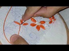 ♥bordado a mão - ponto de margarida triplo♥ - free hand embroidery-embroidered - artesanato - YouTube