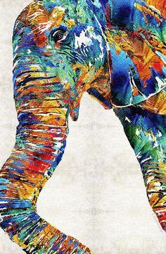Elefante colorido arte Animal PRINT de pintura niños África tronco grande lona listos colgar arte grande Safari lindo divertido gracioso primaria colores