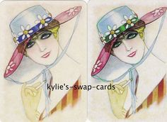 R52 LOVELY LADIES swap playing cards MINT COND Art Deco smoking green/blue eyes