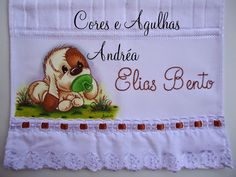 Cores e Agulhas: Toalhinha Infantil Personalizada!! Fabric Painting, My Works, Projects, Baby, Unisex, Cloth Diapers, Bath Towels & Washcloths, Baby Things, Towels