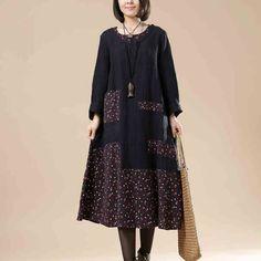 Женщины печати Хлопок белье свободные платья