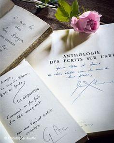 autographed books by Jean Cocteau, Paul Éluard and Georges Perec in the Maison Elsa Triolet museum