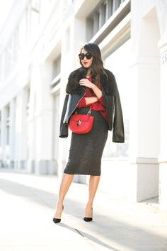 A Journey Home :: Passionate red & Knit midi skirt :: Outfit ::  Top :: Joe Fresh jacket, Joe Fresh sweater Bottom :: Joe Fresh skirt Accessories :: Joe Fresh faux fur scarf Published: December 18, 2015