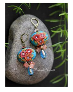 Statement turquoise and purple bold floral earrings artisan clay beads handcrafted ceramic glazed beads unique jewelry bright jewellery
