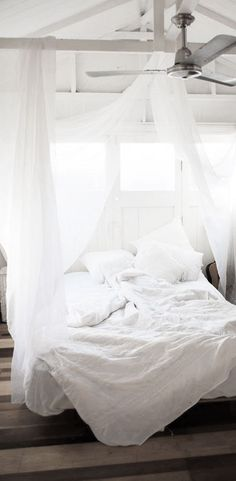 = beams and white bed net