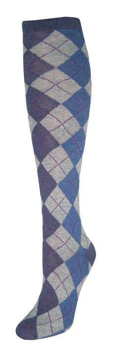 0a8f7ff466b Denim Argyle Knee High Socks Stocking Tights