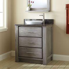 "30"" Venica Teak Vanity for Semi-Recessed Sink - Gray Wash"