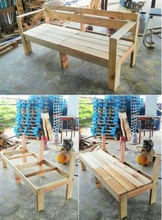 This image will make you show out the complete tutorial of the wood pallet bench design to make it part of your house right now. This simple bench designing has been all done through the mediums of the creativity impressions inside it. Pallet Bench, Pallet Furniture, Wood Pallets, Pallet Wood, Pallet Ideas, Pallet Projects, Diy Pallet, Wood Crafts, Diy And Crafts