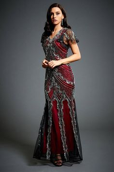 Sophia Vine Red Flapper, 1920s Great Gatsby Inspired, Art Deco Wedding Dress, Dowton Abbey Evening Gown, Bridesmaid Plus Size Dress, S-XXXXL