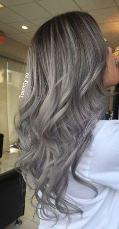 Pin by tong vo on hair style in 2019 Grey Hair Wig, Ashy Hair, Grey Ombre Hair, Ash Blonde Hair, Grey Blonde, Brown Hair, Chignon Hair, Hair Color Balayage, Haircolor