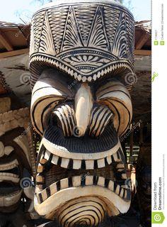Image of exterior - 1746627 Hawaiian totem carving stock image. Tiki Tattoo, Tiki Hawaii, Hawaiian Tiki, Totem Tiki, Tiki Maske, Totems, Tiki Art, Tiki Tiki, Tiki Faces
