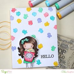 "NewIdeas: SugarPea Designs What's Poppin' ""Hello"" card House Of Cards, Clear Stamps, Whimsical, Card Making, Handmade Cards, Day, Creative, Card Ideas, February"
