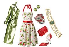 Cherry Print Halter Dress With Burberry Trench Coat