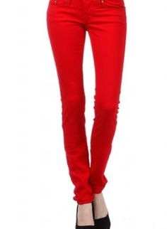 Cherry Red Colored Skinny Jeans,  Bottoms, Bright   Stretch  Hot  Studded, Chic