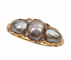 Victorian Natural Pearl, Diamond & 18K gold ring. Available at Bell and Bird in Austin.