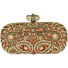 Pre-Owned Marchesa Lily Clutch with Pink, Pearl and Crystal Details (689,390 KRW) ❤ liked on Polyvore featuring bags, handbags, clutches, pink, colorful purses, pearl clutches, beaded clutches, beaded handbag and multi color purse