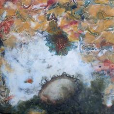 "Linda Womack | Vanish Into The Vast Sea, 20110 | encaustic, paper, oil, gouache, ink and foil on plaster, 12""x12"" /sm"