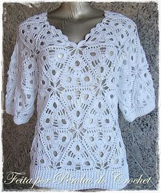 Hello people who love crochet, I present this beautiful crochet blouse with pattern and pattern in braided braided crochet, I'm very excite. Black Crochet Dress, Love Crochet, Crochet Motif, Crochet For Kids, Beautiful Crochet, Crochet Stitches, Knit Crochet, Crochet Patterns, Crochet Wedding