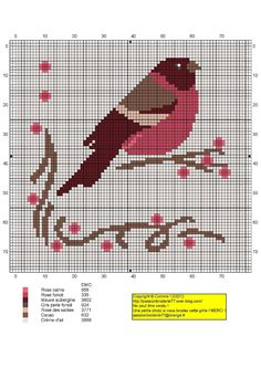 Un bel oiseau chart by passion broderie- so cute- Definitely making it. Xmas Cross Stitch, Simple Cross Stitch, Cross Stitch Charts, Cross Stitching, Cross Stitch Embroidery, Cross Stitch Patterns, Bordados E Cia, Cross Stitch Finishing, Cross Stitch Animals