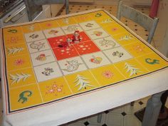 Vintage Swedish CHRISTMAS Tablecloth Angels by unclebunkstrunk, $44.99