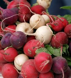 Easter Egg radishes are just one of the colorful varieties now available at local stores and farmers markets. Another recipe for radish salad with orange and cucumber. Mint Salad, Radish Salad, Orange Salad, Radish Recipes, Vegetable Recipes, Salad Recipes, Savoury Recipes, Eggplant Zucchini, Vegetable Stand