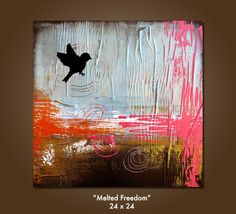 Melted Freedom - 24 x 24, Heavy Textured Mixed Media Acrylic Art PAINTING on canvas, Contemporary Earthy Bird Art