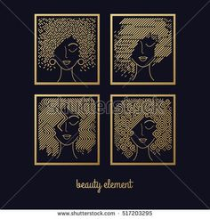 Female hairstyles. Set of girls faces gold foil printing on black background. Vector illustration for design packing shampoo, hair cosmetics, hairdressing signage, flyers, advertising.