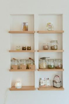 Recessed shelving between wall studs is an excellent way to store everyday items. Install recessed shelves in your kitchen or bathroom for ultimate functionality.