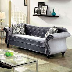 Furniture of America Dessie Traditional Tufted Sofa