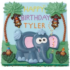 Say Happy Birthday with our Trunk Talking Cake, created using Wilton's Elephant Cake Pan and Monkey Candy Mold.