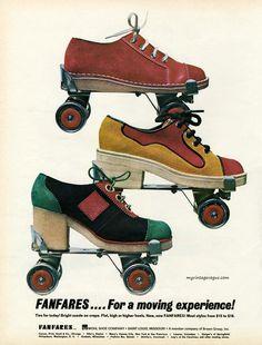 Fanfares roller shoes, 1972 Fashion and Lifestyle photos Roller Derby, Retro Roller Skates, Roller Disco, Roller Skating, Skating Rink, 70s Fashion, Vintage Fashion, Shoes Ads, Vintage Vogue