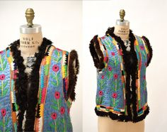 Vintage Embroidered Shearling Vest// 70s by Hookedonhoney on Etsy