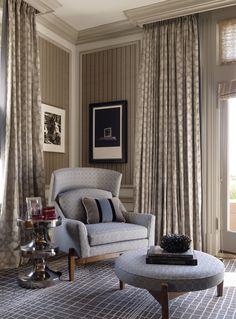 Colors, gray crown molding wraps around drape valances.   Presidio Heights living room by Jeffers Design Group.