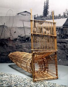 Fish trap, woven basket under water