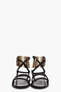 Textured leather sandals in black