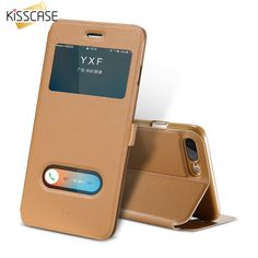 KISSCASE Open Window View Flip Case For iPhone 7 6 Plus Ultra Thin Leather Folio Cover. Click visit to buy #FlipCase #case