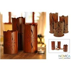 NOVICA Artisan Crafted Rustic Steel Candle Holder ($35) ❤ liked on Polyvore featuring home, home decor, candles & candleholders, brown, candleholders, candles & lighting, rustic home decor, rustic candles, brown candles and rustic candle holders
