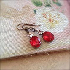 Ruby Red Rhinestone Earrings Vintage Glam Estate by chichigemmes
