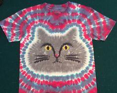 Cat Tie Dye Shirt Tye Die FREE SHIPPING Grumpy or by TyeDyeHouse